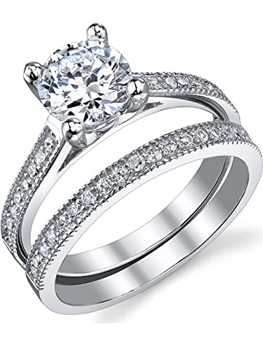 125 carat round brilliant cubic zirconia sterling silver 925 wedding engagement ring band set 4 - Wedding Rings And Bands