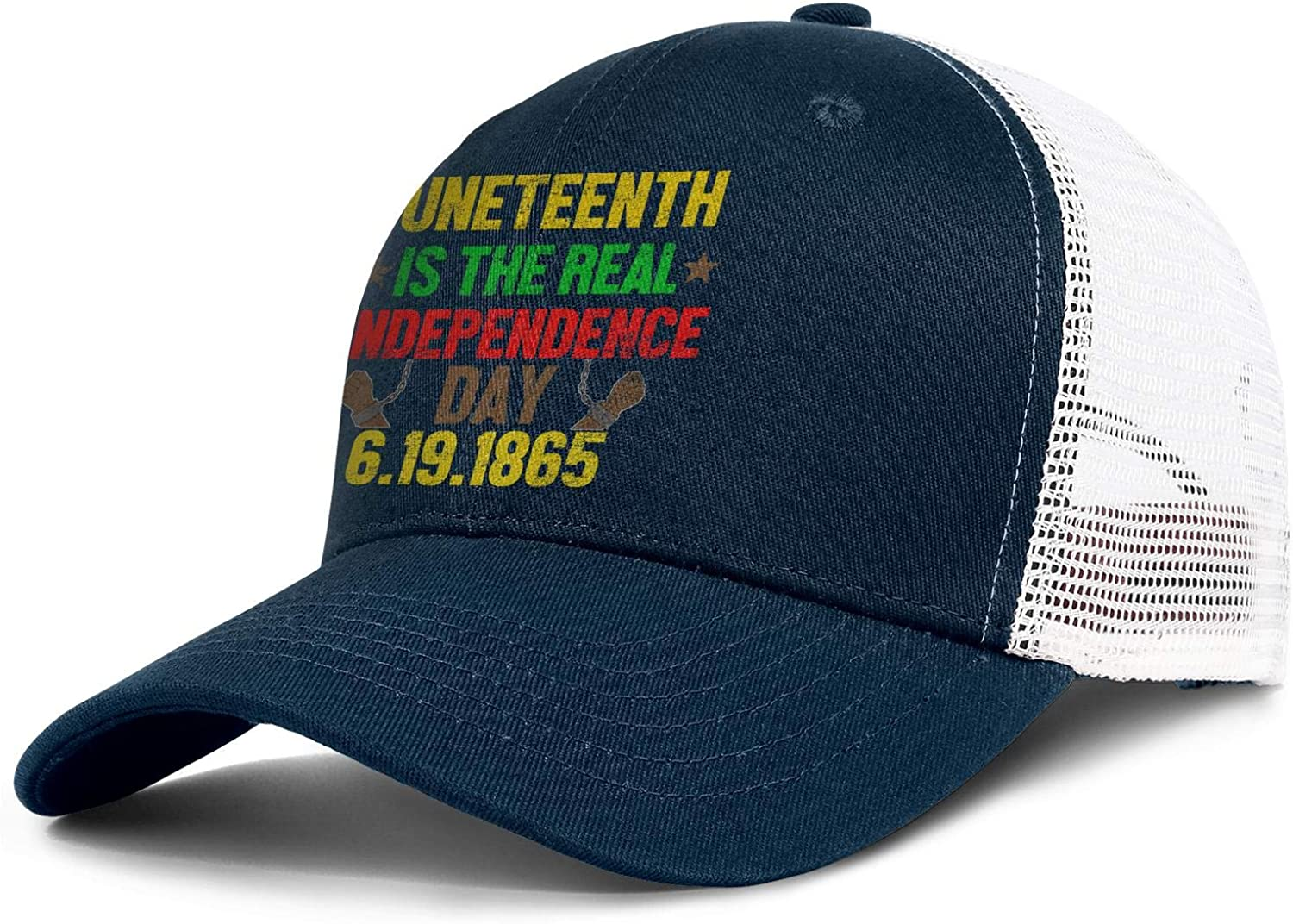 Happy Juneteenth Day Chain Unisex Mesh Back Cap Two-Tone Stretch Sun Hats Adjustable Trucker Baseball Caps
