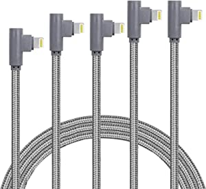 MFI Certified 5Pack Right Angle Lightning Cable 90 Degree iPhone Charging Cable Compatible with 12 11 Pro Max XR XS Max X 10 8 7 6s 6 Plus 5 5s SE 2020, iPad Pro (Grey3ft/6ft/6ft10ft/10ft)