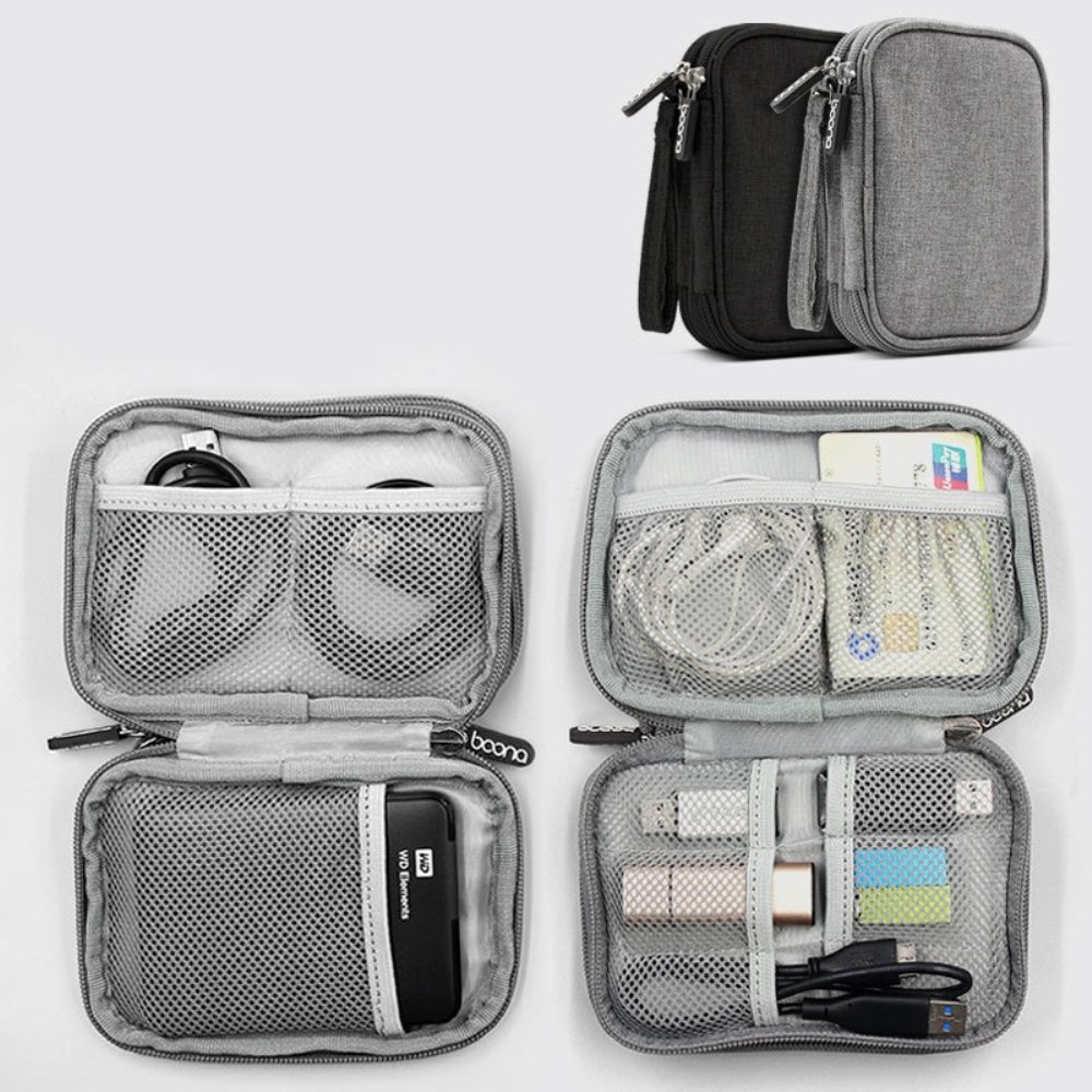 Honeystore Universal Double Layer Travel Gear Organizer Portable Electronic Accessories Storage Case Gadgets Organizer Bag for iPad Mini, USB Cable, Plug, Flash Drive, Charger, Earphone and More Black by Honeystore (Image #4)