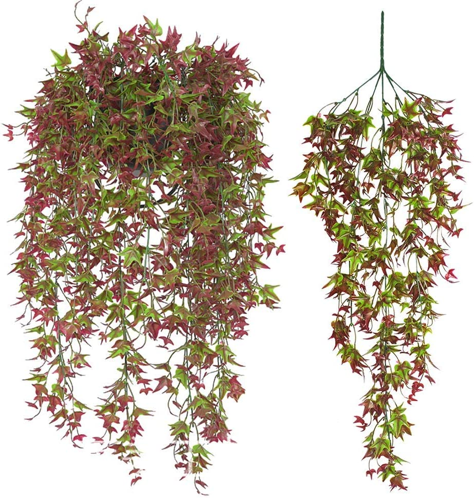 "2 Pcs Artificial Vines Ivy Leaf Plants Vine Hanging Garland Fake Foliage Flowers for Party Outdoor Greenery Wedding Wall Decorations Supplies (Red-30.7"")"