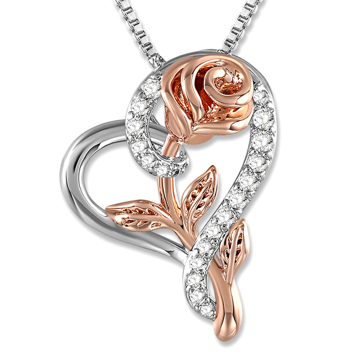 Rose Necklace for Women 5A Cubic Zirconia Love Heart Pendant Necklace Jewelry with Gift Box