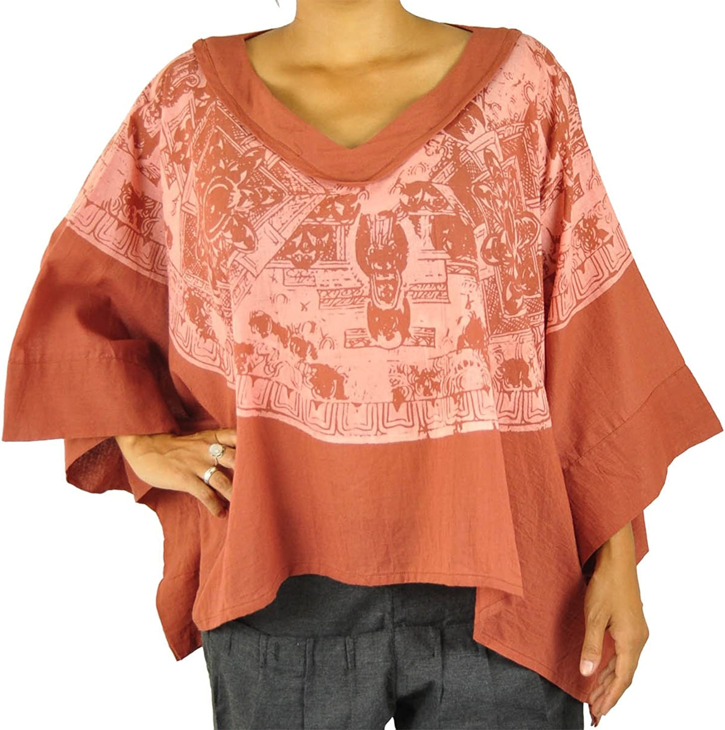 virblatt Alternativa Poncho Ropa señoras Hippie Alternativa Fashion Parte Superior con Pintado a Mano Mandala One-Size-Fits tamaños S-XL – Mercadillo