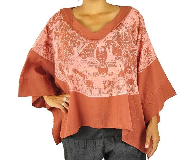 virblatt Poncho Alternativo Ropa Blusa a la Moda para Damas con Mandalas pintadas a Mano,
