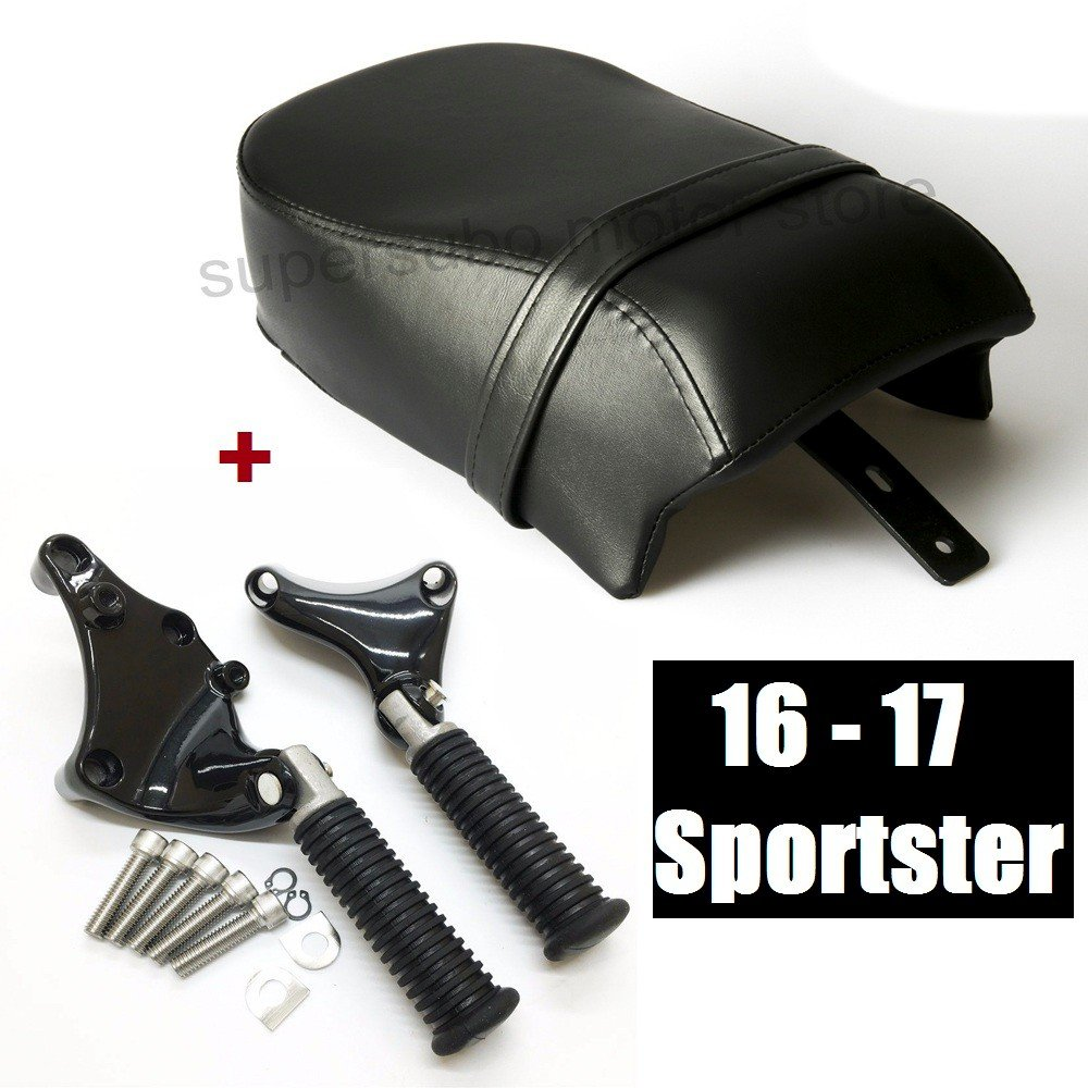Motorcycle sportster seat 2016-2017 SEAT + passenger pegs for harley sportster XL1200V and XL1200X 16-17 models   B07B6R15RW