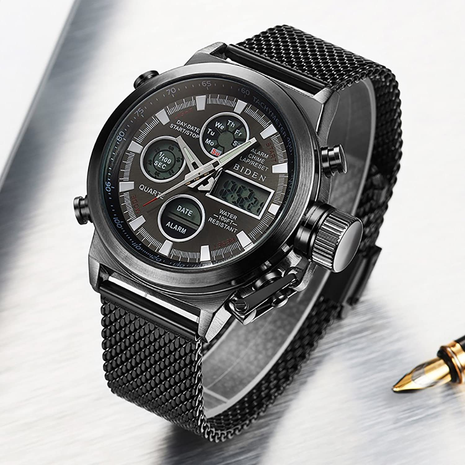 Amazon.com: BIDEN Brand New Arrival LED Digital Mesh Stainless Strap Quartz Sport Military Watch (Black): Watches