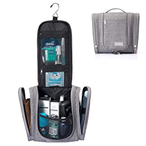 Hanging Travel Toiletry Bag for Women and Men, Skyera Heavy Duty Dopp Kit and Waterproof Makeup Organizer, Large Capacity, Compact Cosmetics, Durable Zippers and Sturdy Hook Hanger, Toiletries Accesso