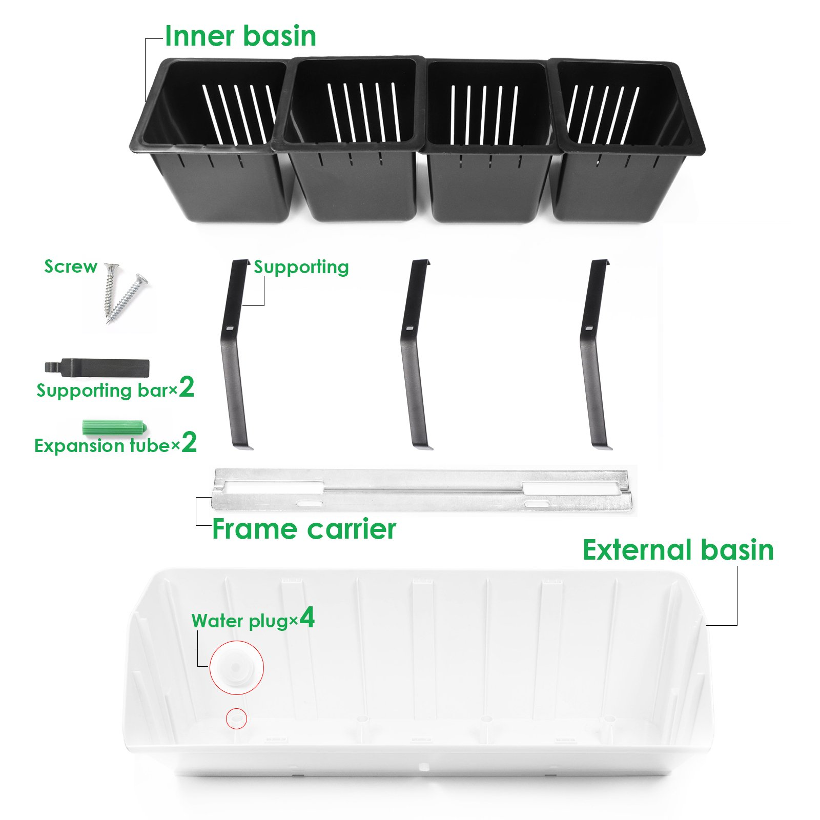 KORAM 20-inch Vertical Garden Wall Planter 1 Row 4 Pots Living Wall Hanging Flower Box Wall Mount Plant Pot for Balcony Vegetable Gardens Growing Kit, 1-Pack