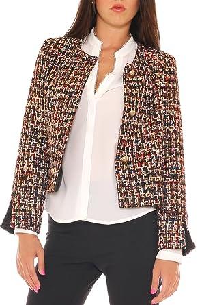 new products e7f52 807b0 Key-Di Giacca Donna Elegante in Tessuto Chanel Misto Lana ...
