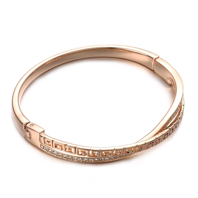 Yoursfs Bracelet Croix infini plaqu/é Or rose Solitaires en Cristal pav/és pour Femme Id/ée Cadeaux de Saint Valentin Anniversaire Mariage