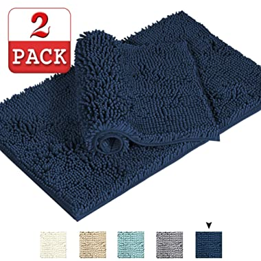 Comfortable Non-Slip Thick Bath Rug Super Soft Microfiber Bathroom Rugs Oversize Bathroom Rug Shag Shower Mat Floor Mat Non Slip Shag Bath Mat for Kitchen, 17  x 24  and 20  x 32 , Navy, Two Pack