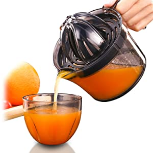 Citrus Juicer, Sunhanny Orange Lemon Manual Hand Squeezer, Anti-Slip Lid Rotation Reamer Lime Press, 17-Ounce Capacity, Transparent Black