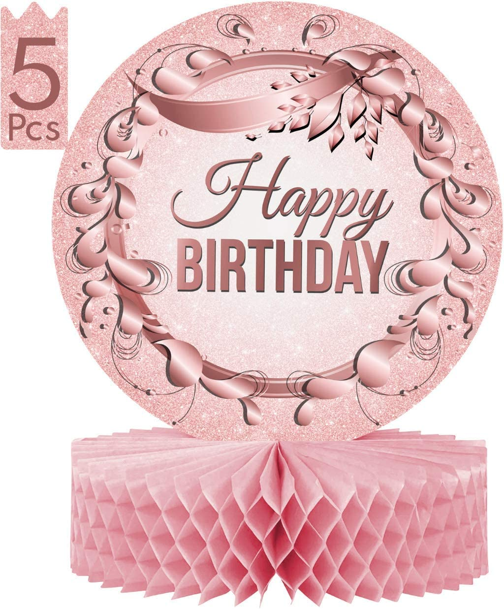 """Birthday Table Centerpiece Decorations -5-Pack Double Sided Cardstock & Tissue Paper Honeycomb Happy Birthday Decoration - 12"""" Pink & Rose Gold Birthday Party Decorations Centerpieces"""