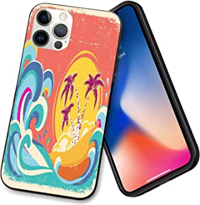 Vintage Old Paper Style Tropical Island with Giant Waves Retro Background Case for iPhone 12-6.1in[8ft Drop Tested] w/Microfiber Lining Cute Protective Phone Cases for Unisex