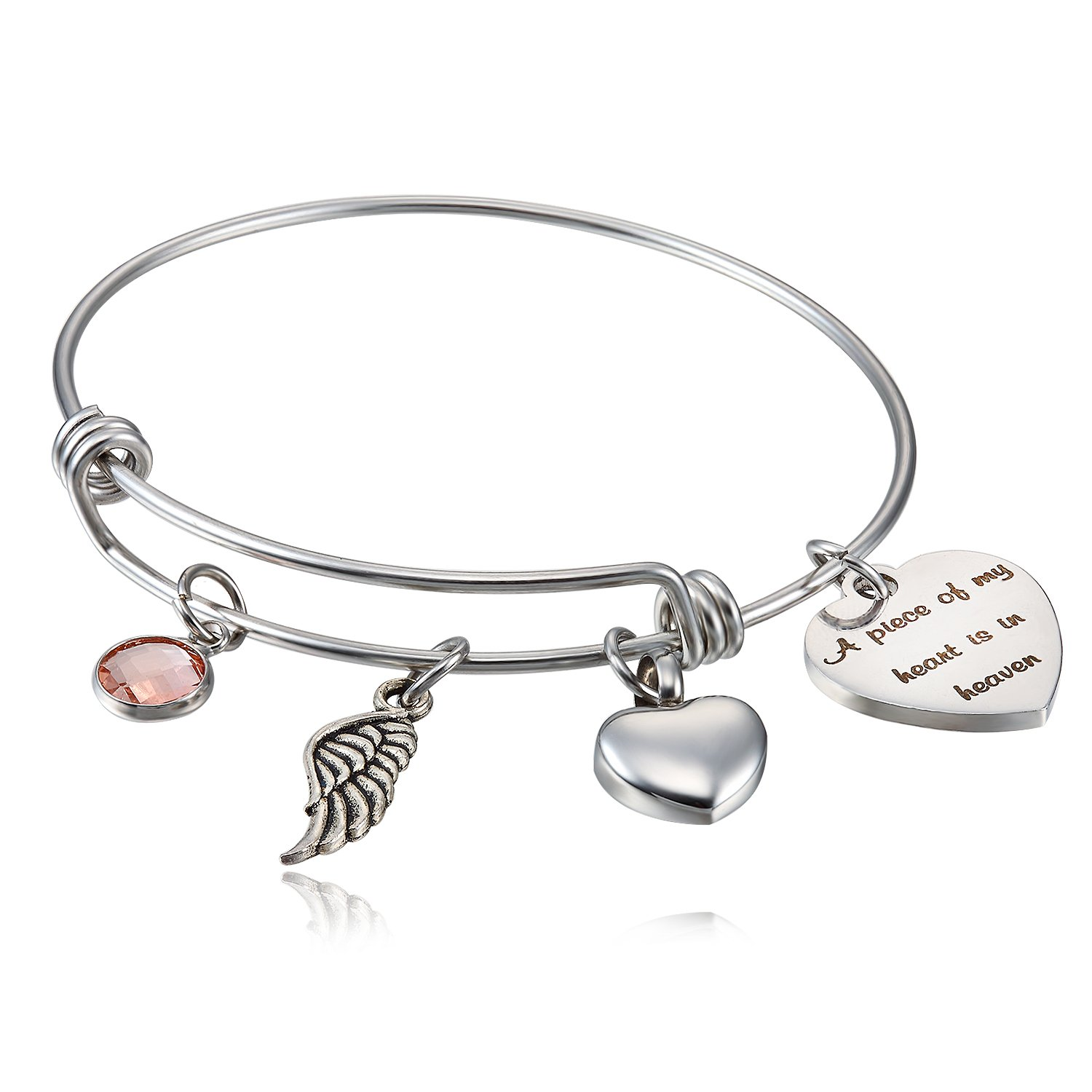 FLODANCER Cremation Urn Bracelet,A Piece My Heart is in Heaven,Cremation Memorial Jewelry Ashes,Sympathy Jewelry bracelet angle wing charm
