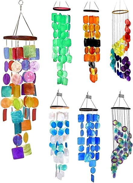 Amazon Com Bellaa 22890 Rainbow Wind Chimes Outside Garden Yard Patio Love Grace Pet Memorial Windchime Outdoor Hanging Beach Shell Presents For Mom Gifts For Grandma 27 Inch Happy Holiday Garden Outdoor