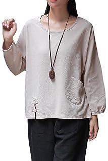 393edfa6f2e Prior Jms Women s Linen T-Shirt Blouse Casual Loose Long Sleeve Tops ...