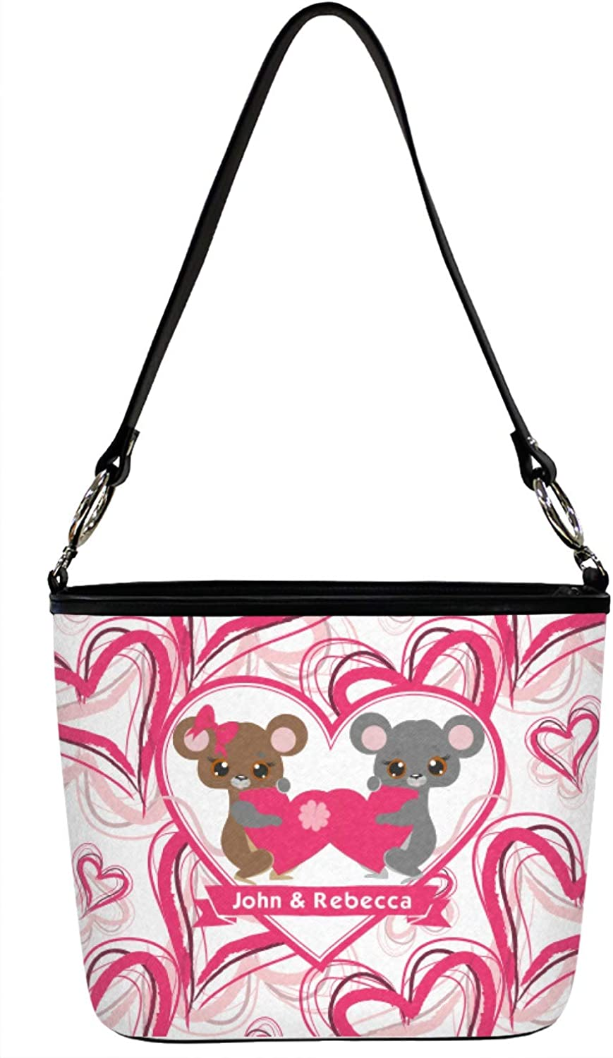 Valentines Day Bucket Bag w//Genuine Leather Trim Front Regular Personalized
