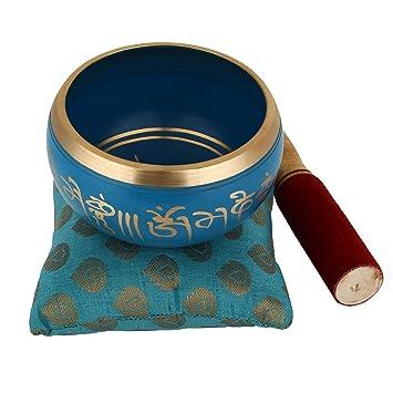 Juego de cuenco de meditación tibetana Om Mani, cojín y mazo de Zap Impex®, azul, 10,2 cm