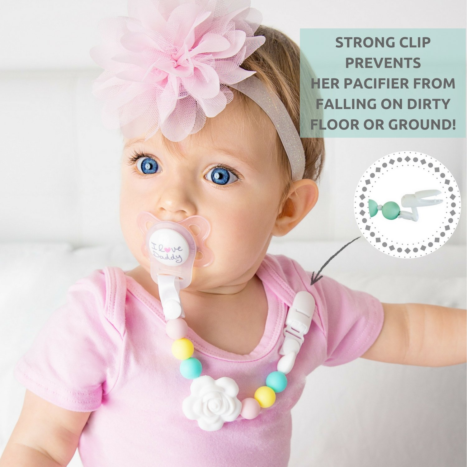 Amazon.com: Vesta Baby Pacifier Clips with Silicone Teething ...