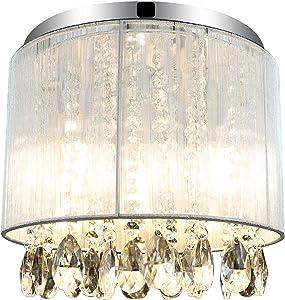 Depuley Crystals Chandelier Light Fixture, 3-Light Flush Mount Crystal Ceiling Light, 11'' Mini Modern Crystal Hanging Chandelier Lamp for Bedroom, Hallway, Living Room, Kitchen, Bar
