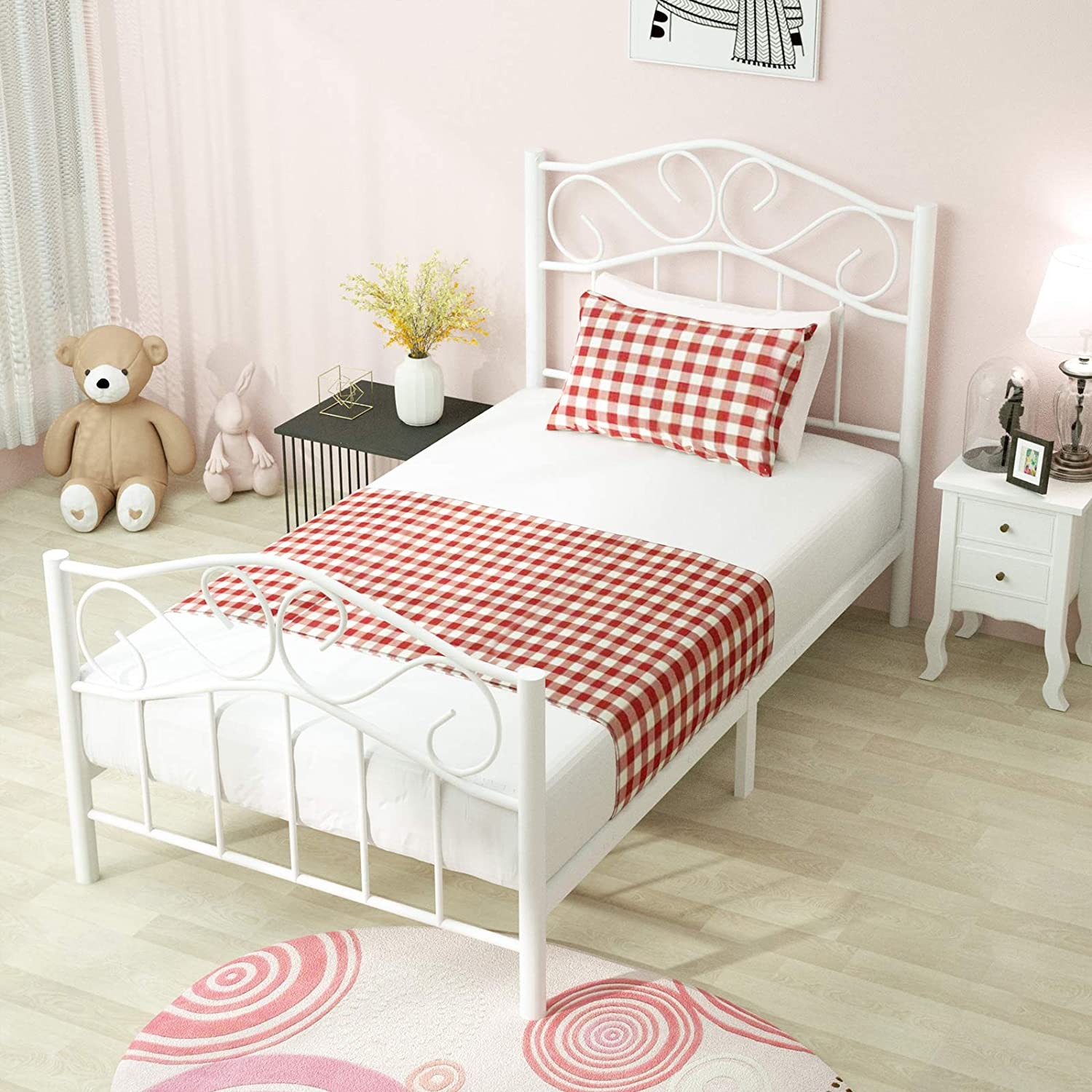 Metal Bed Frame Full Size Platform Kids Bedroom Furniture Headboard Child White