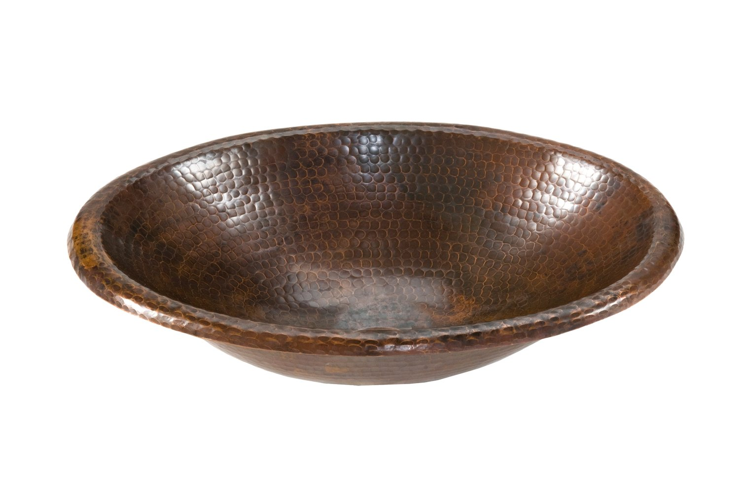 Premier Copper Products LO17RDB Small Oval Self Rimming Hammered Copper Sink, Oil Rubbed Bronze