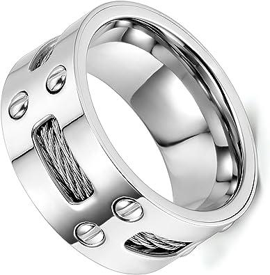Bague Acier Design Argenté Homme Femme Bijoux Cadeau Ring Anneau