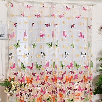 2er Set Kruselband Bunt Schmetterling Halbtransparent Vorhang Gardinen BxH 100x200cm