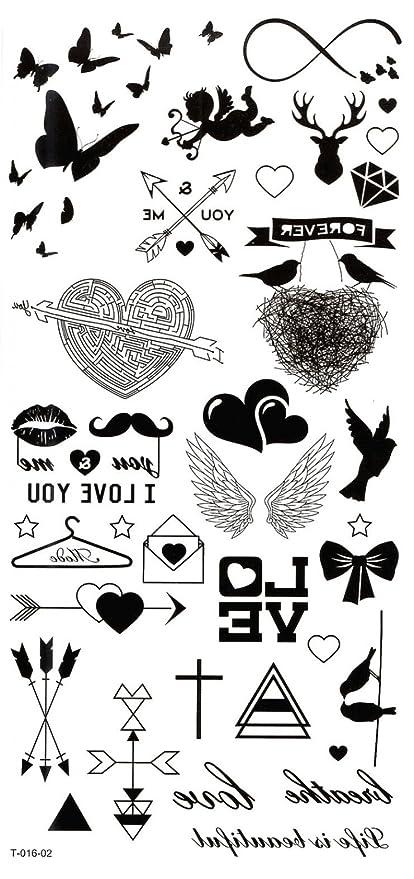 Grashine Largo último Tatuajes Temporales Mariposas Corazones