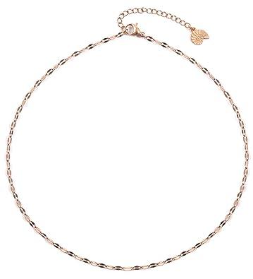 la moitié 68491 b6e44 Happiness Boutique Femmes Collier Ras du Cou Délicat en Or Rose | Collier  Chaîne Bijoux Acier Inoxydable