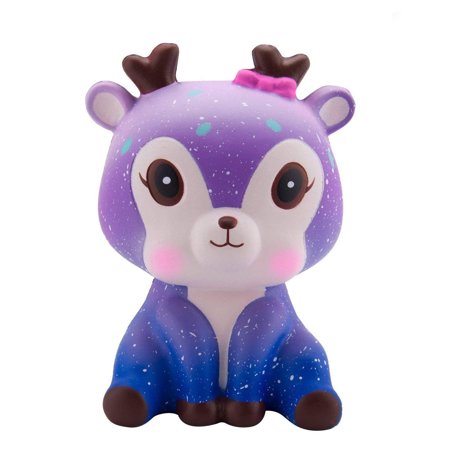 WATINC Kawaii Jumbo Starry Deer Squishy Slow Rising Sweet Scented Vent Charms Kid Toy Hand Toy, Stress Relief Toy, Decorative Props Doll Gift Fun Large(Starry Deer)