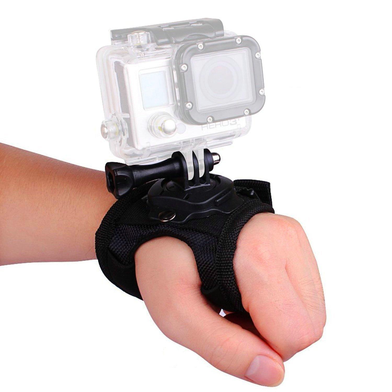 VVHOOY 360 Degree Rotation Glove Style Band Wrist Strap Mount Strip Beltfor GoPro 4 3+ 3 2 1 SJ4000 SJ5000 SJ6000 SJCAM Xiaomi yi Sports Camera Accessory Kit VV-XM-A201