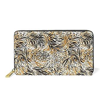 COOSUN Tiger patrón de la piel del cuero del monedero del ...