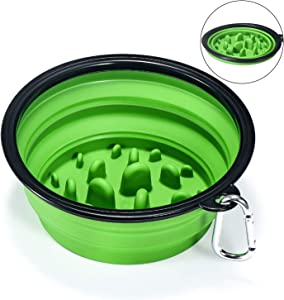 EAXBUX Portable Dog Slow Feeder Bowl Collapsible Silicone Stop Bloat for Pet for Travel,Outdoor,Home