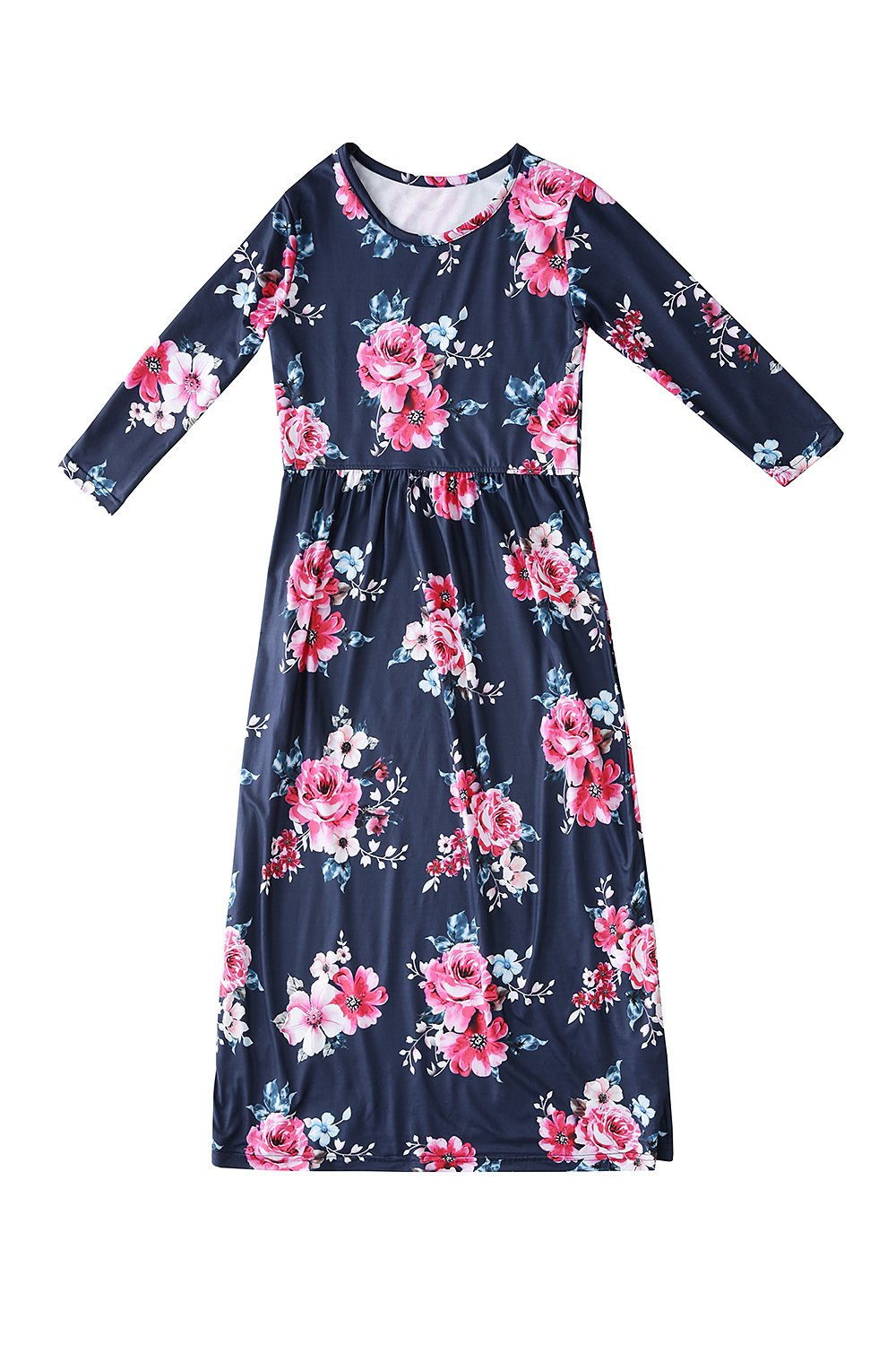 Amazon Foshow Girls Short Sleeve Long Maxi Dress Floral Flower
