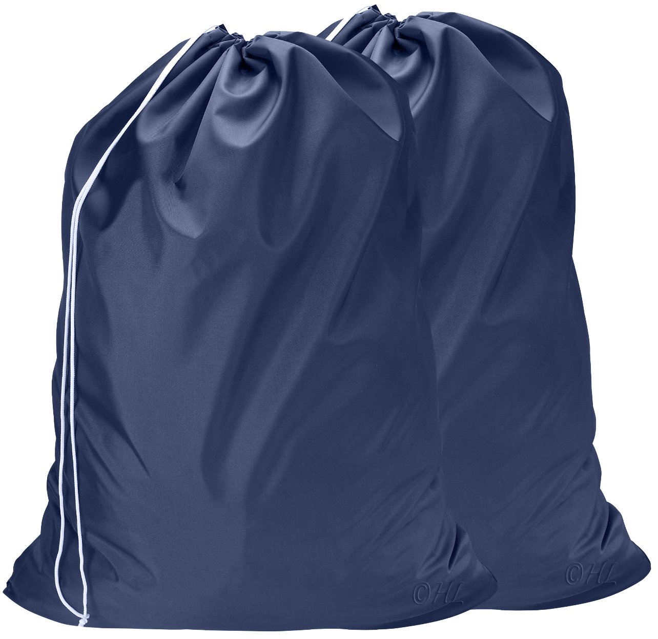 Nylon Laundry Bag - Locking Drawstring Closure and Machine Washable. These Large Bags will Fit a Laundry Basket or Hamper and Strong Enough to Carry up to Three Loads of Clothes. (Navy Blue | 2-PACK)
