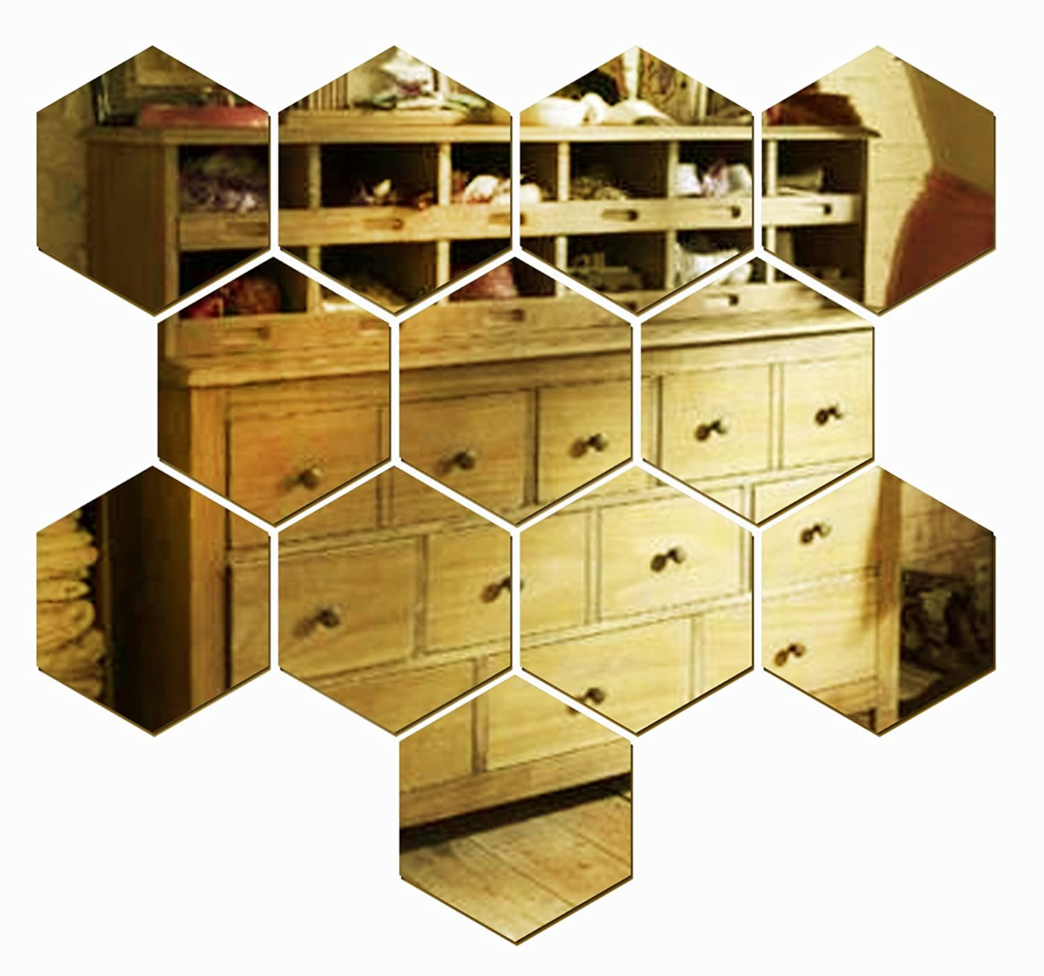 Amazon.com: JustNile Decorative Hexagonal Wall Stickers - 12pc ...