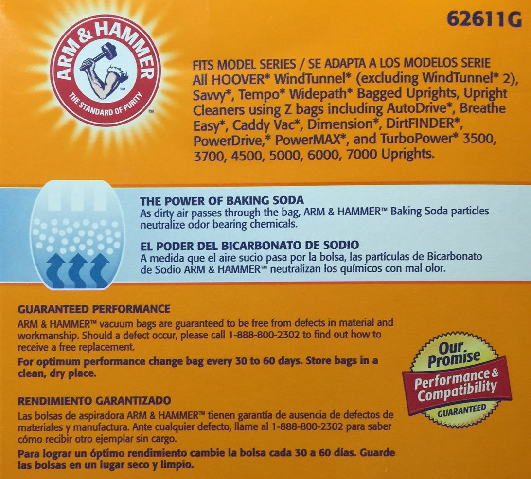 Amazon.com - Arm & Hammer Odor Eliminating Vacuum Bags, Hoover Y & Z, 3-pack -