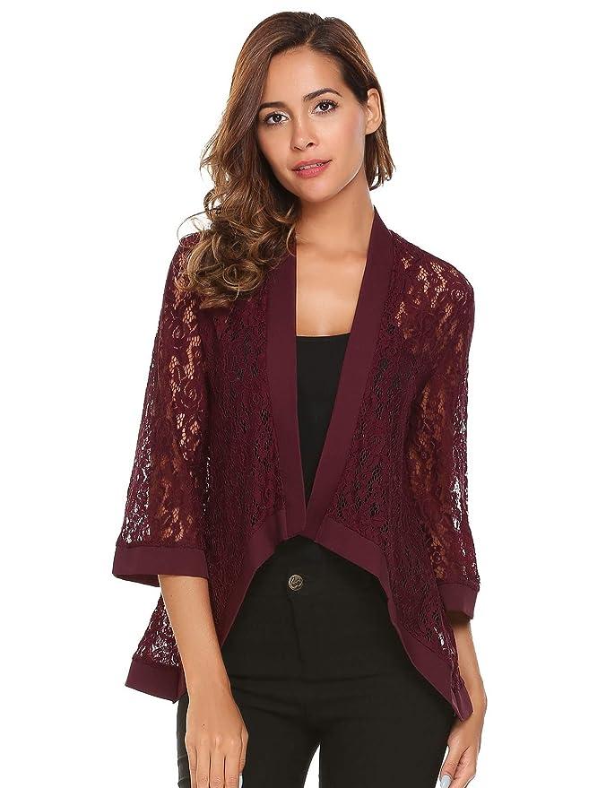 9ebbbf30ef2cdd Dealwell Women s Lace Cardigan Lightweight 3 4 Sleeve Dressy Shrug Summer  Jacket at Amazon Women s Clothing store