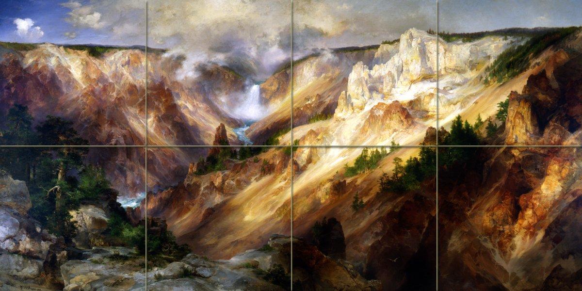 Grand canyon yellowstone t moran tile mural wall - Grand calendrier mural ...