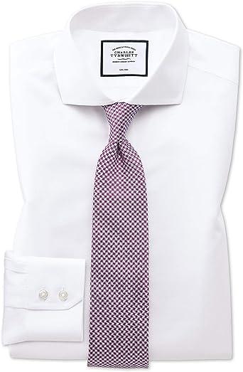 Camisa sin Plancha Blanca de Sarga Slim fit con Cuello Italiano: Amazon.es: Ropa y accesorios