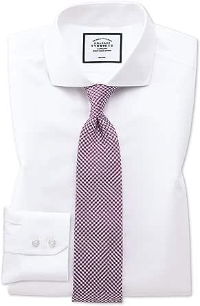 Camisa sin Plancha Blanca de Sarga Slim fit con Cuello Italiano