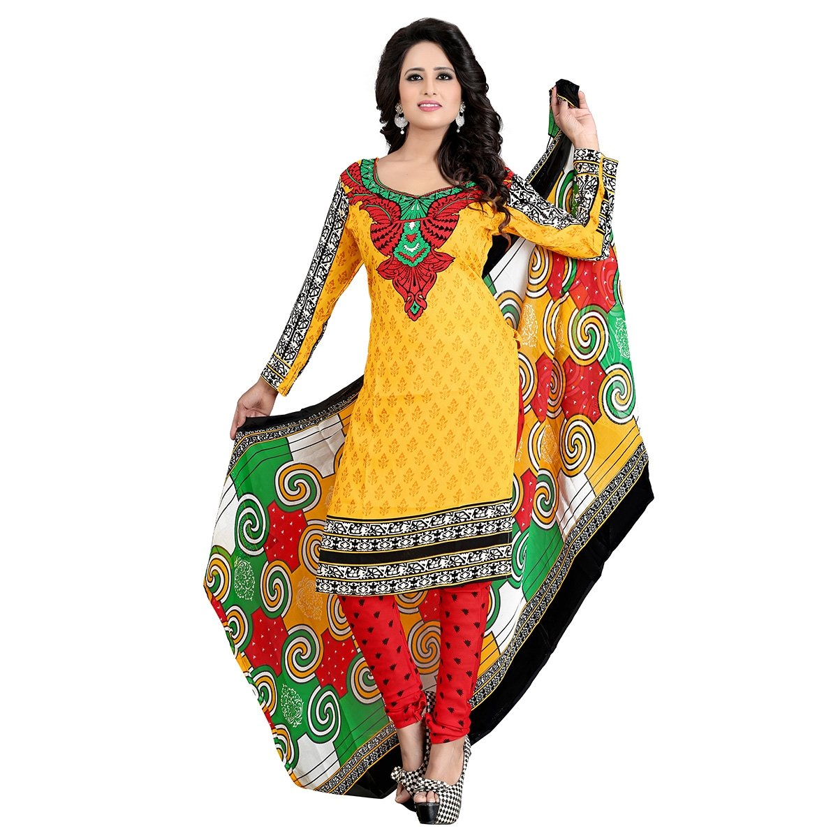Shilp-kala Indian Trendy Yellow Colored Printed Synthetic Unstitched Salwar Kameez SKTSTZPRSK5034