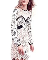 VFDFGN Boho Inspired NEW vintage Guipure Lace patchwork floral print party dresses Long Sleeve white dress