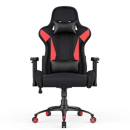 AmazonBasics Silla para oficina y gaming, diseño deportivo, rojo