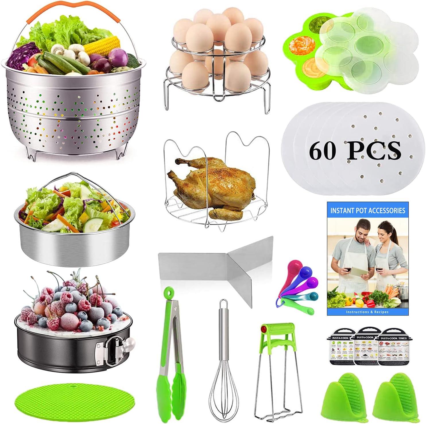 20 PCS Pressure Cooker Accessories Set Compatible with Instant Pot 6,8Qt - Ninja Foodi 8qt, 2 Steamer Baskets, Springform Pan, Stackable Egg Steamer Rack, Egg Beater, Instruction & Recipes Book