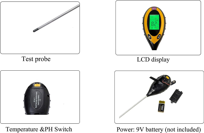 int/érieur et ext/érieur agriculture batterie non incluse Beslands Testeur de sol 4 en 1 Humidit/é de la Terre pH Valeur Temp/érature du sol et Test dintensit/é de la lumi/ère du soleil pour jardinage