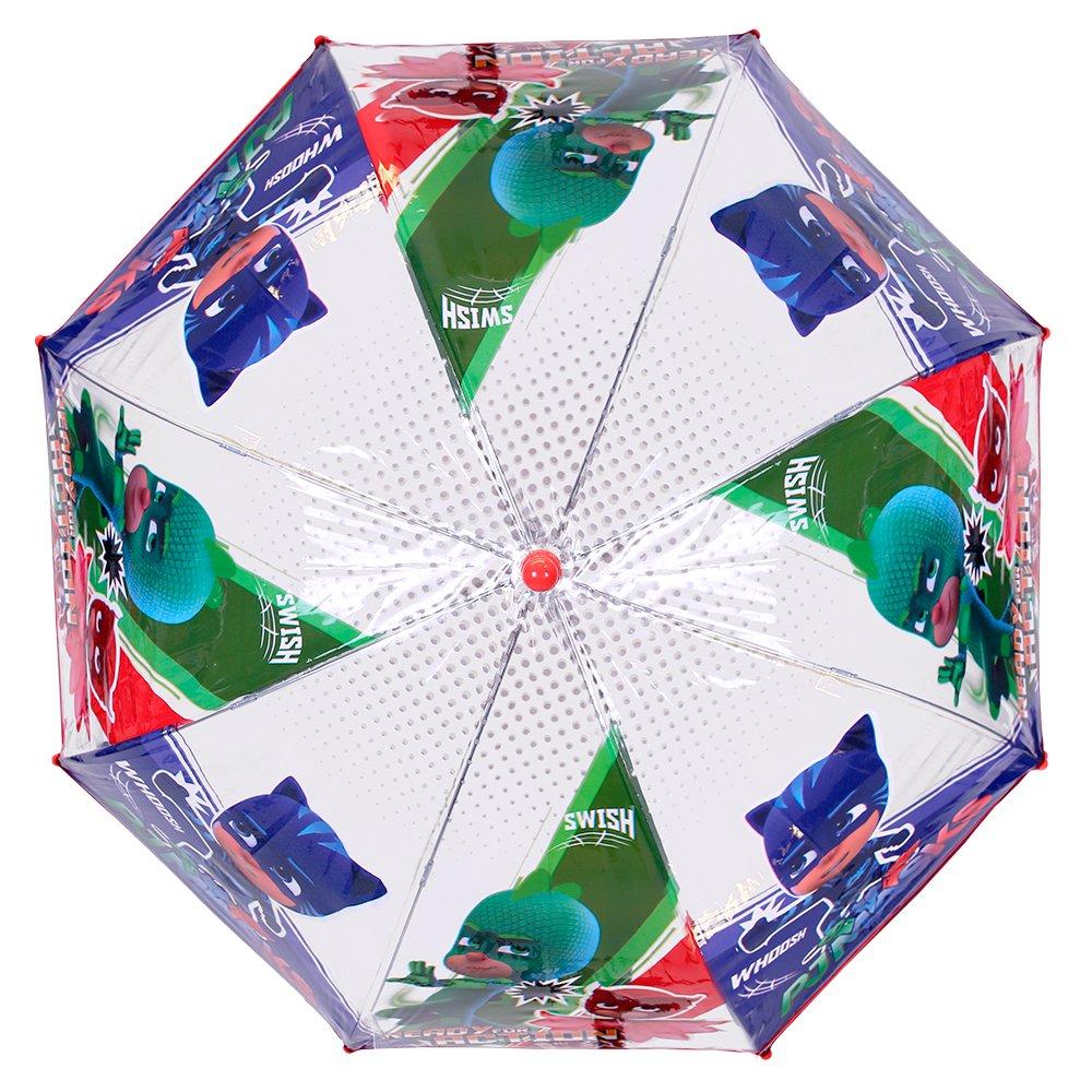 Paraguas Pj Masks Niño - Con Gatuno Buhíta y Gekko - Paraguas Los Pijamasques Transparente de Burbuja Resistente, Antiviento y Largo - Apertura de seguridad ...