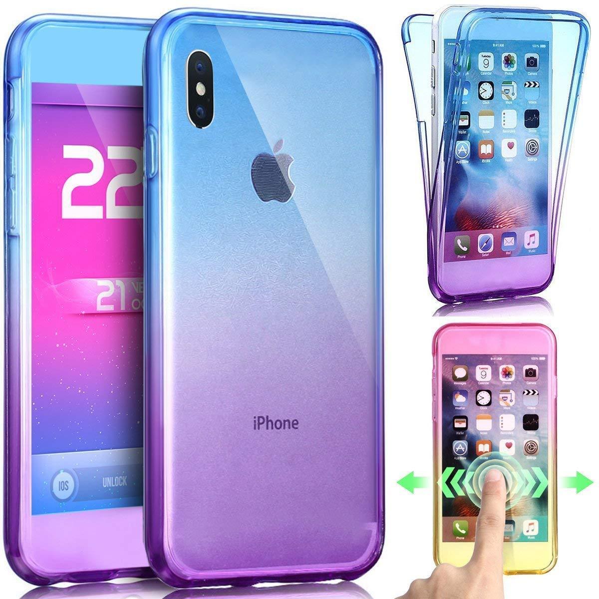 091dbfd9a0f Transparente Silicona Cover Bling Glitter Brillante 360 Grados 3 en 1  Protecció n Ultra Delgado Suave TPU Case Funda Compatible con iPhone XR  Carcasa ...